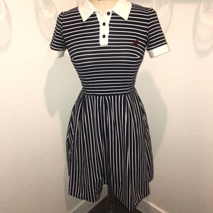 Striped ModCloth polo dress with cat embroidery